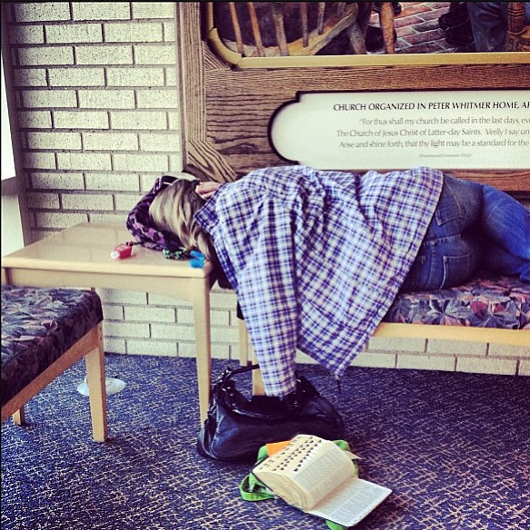 BYUIDAHOSLEEPS | Courtesy Photo A student takes a nap on a bench in the lobby of the Taylor building at BYU-Idaho.