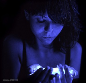 Girl, dark, blue, glow