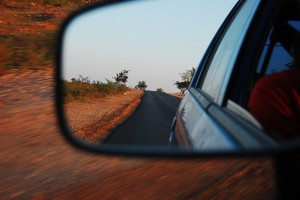 Roadtrip, side mirror, reflection