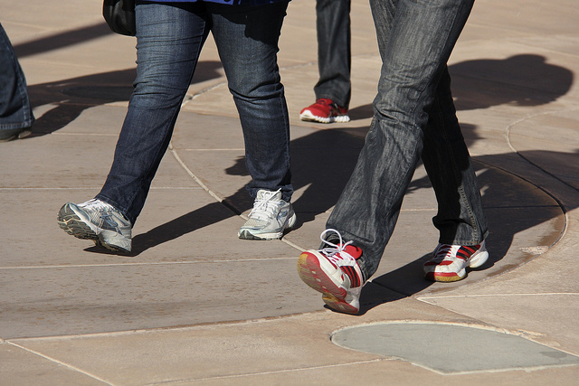 Walking, running shoes, jeans