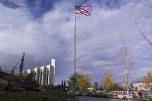 Photos of The USA flag near the taylor building and Voting (Francisco Canseco)