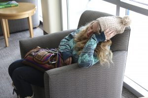 Student sleeping on campus. Haylee Bateman, Health Science Major, Freshman. (James Richards, Scroll Photography)