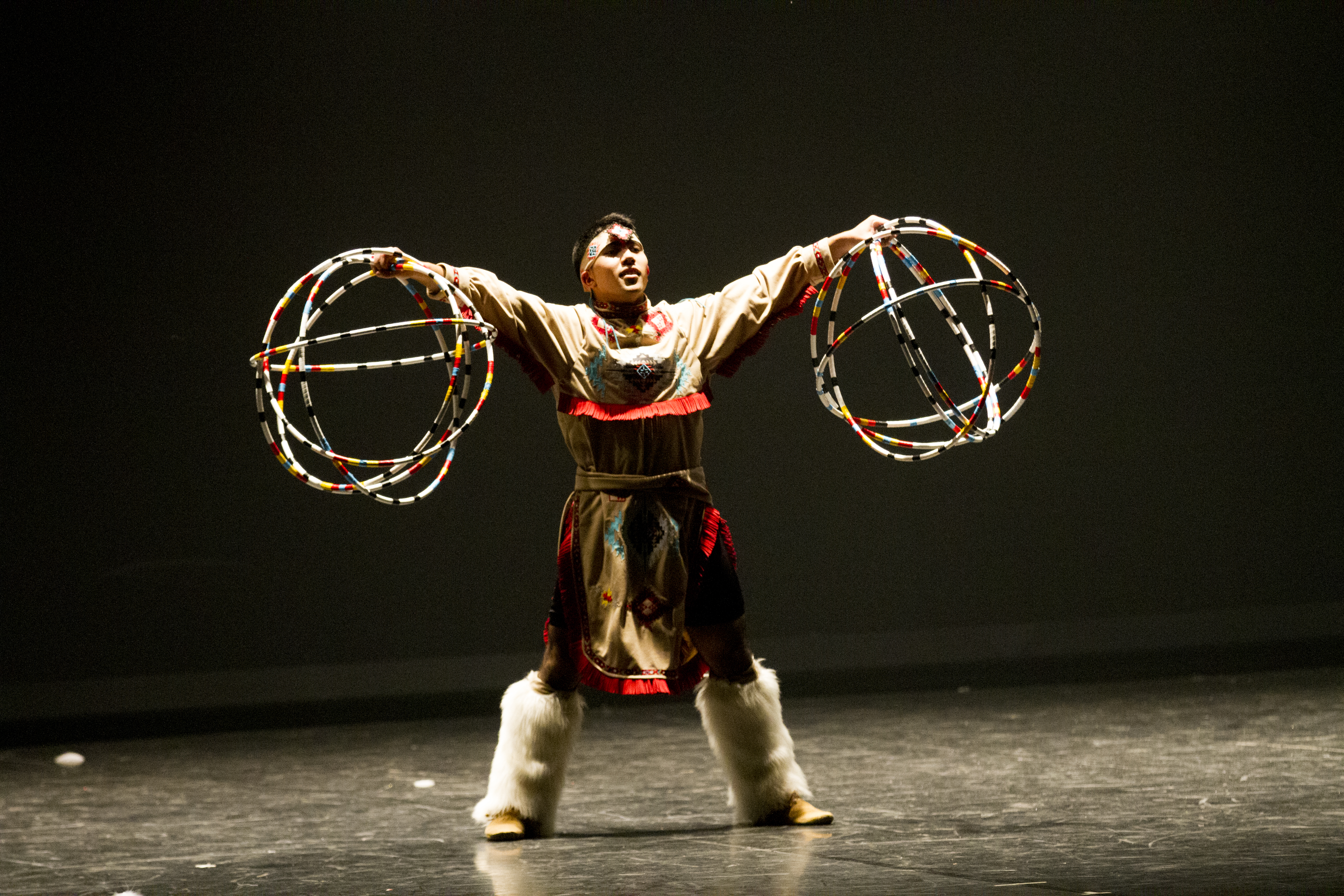 Male dancer of BYU-Idaho dance alliance performing a rendition of a native american dance