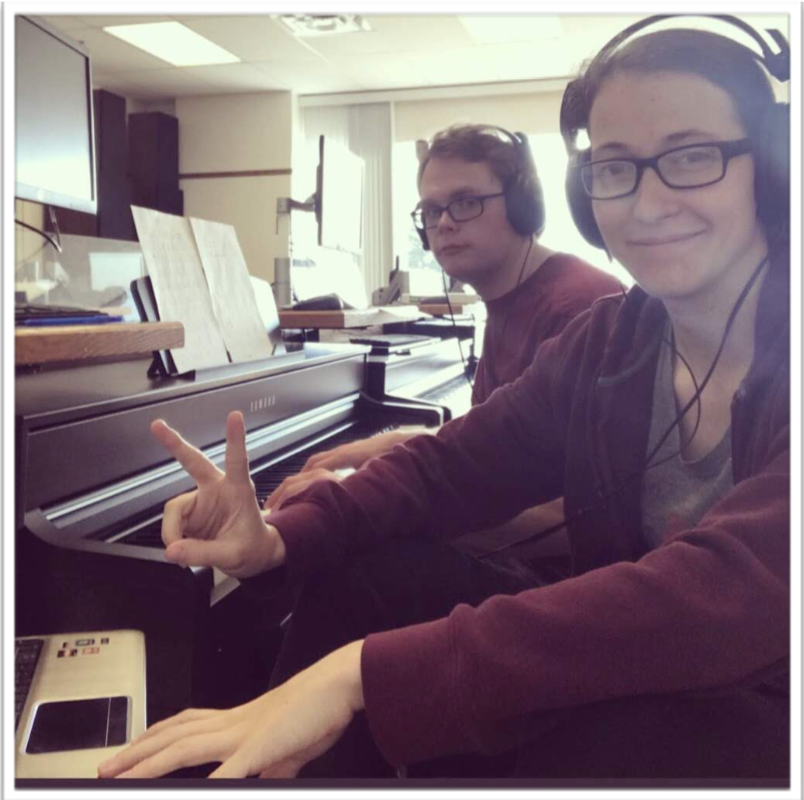 Shaie Beutler and a friend, Parker Talbot, transcribing the music for Lafayette (May 2018)