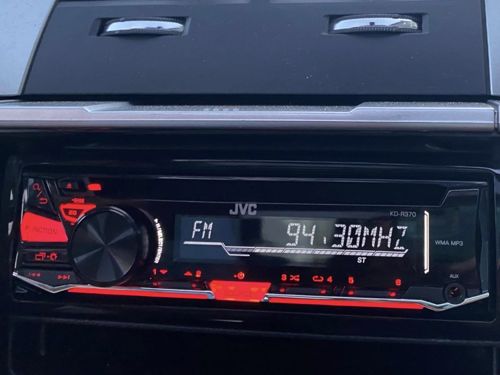 Radio tuned in to KBYI-FM 94.3 one of the two BYU-Idaho radio stations