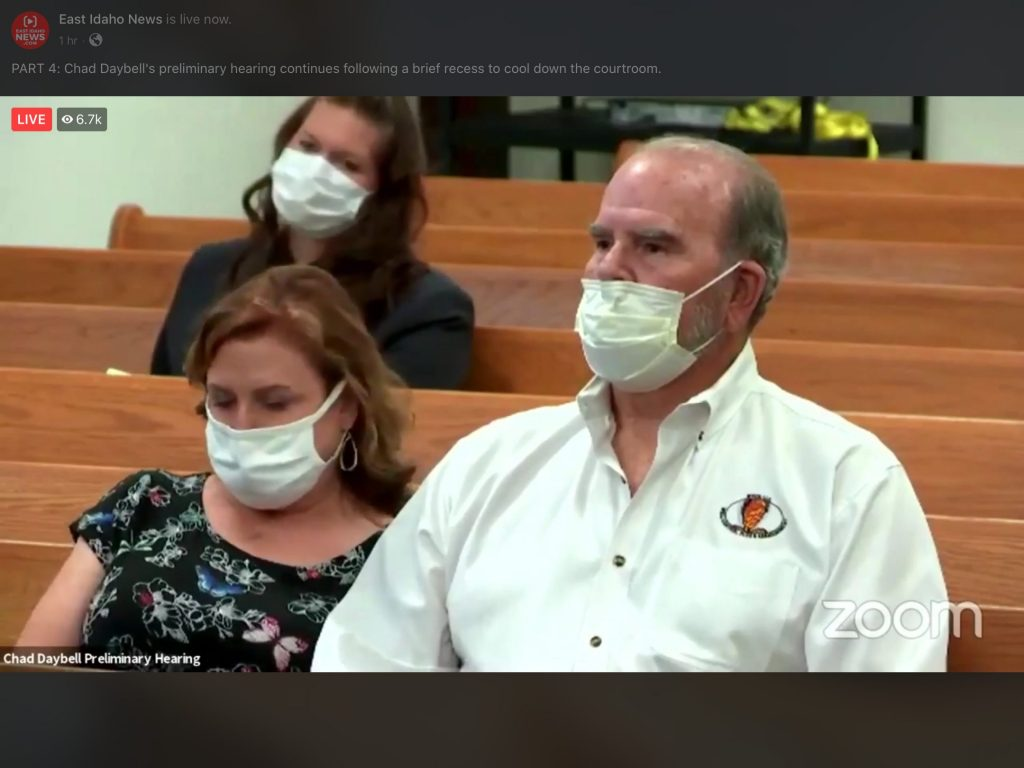 Kay and Larry Woodcock, JJ's grandparents, attend the hearing.