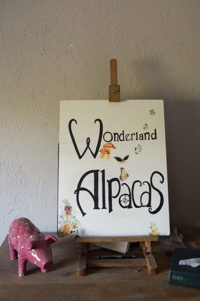 A sign Freeman's daughter made for her sits on a an easel.