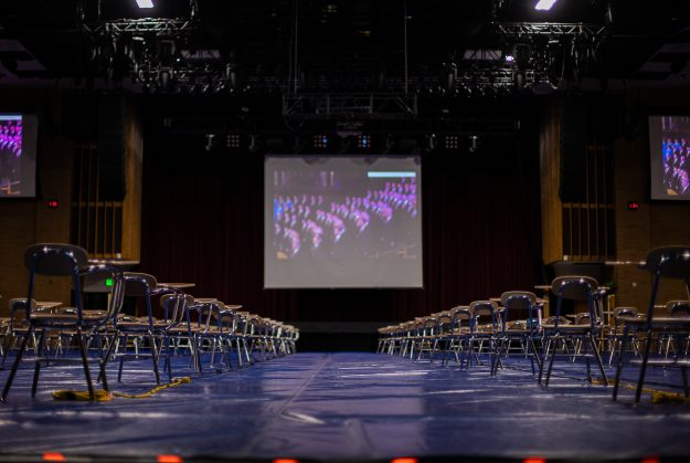 Photo courtesy of Emily Russell, a photo of empty chairs in the Hart auditorium