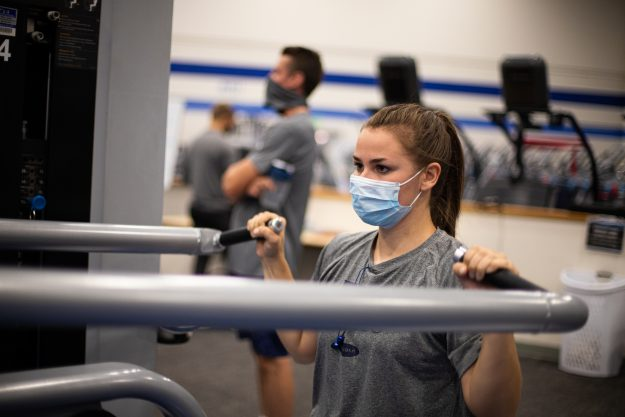 Photo courtesy of Emily Russell, photo of a BYU-Idaho student using exercise equipment