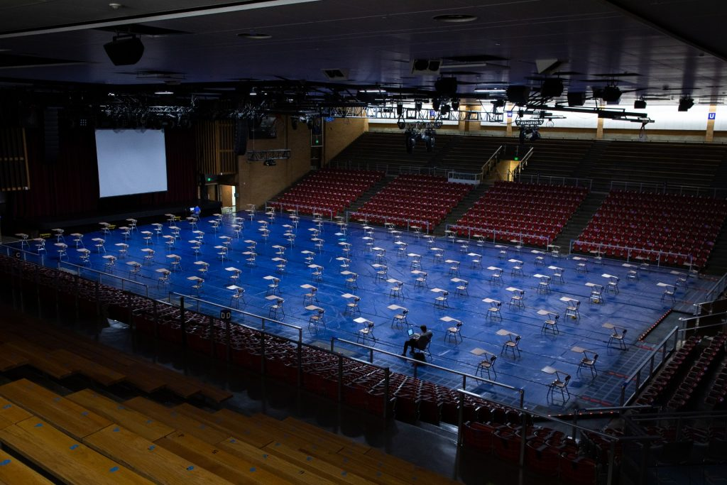 photo of empty chairs in the Hart Auditorium