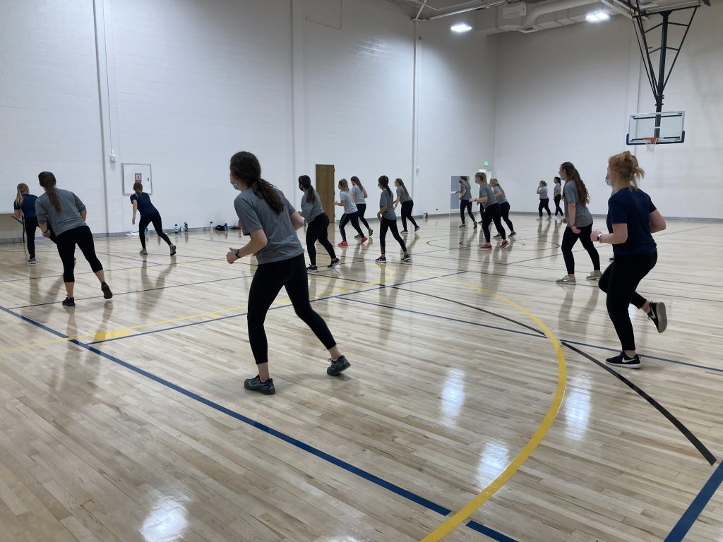Students dance during the High Fitness Class.