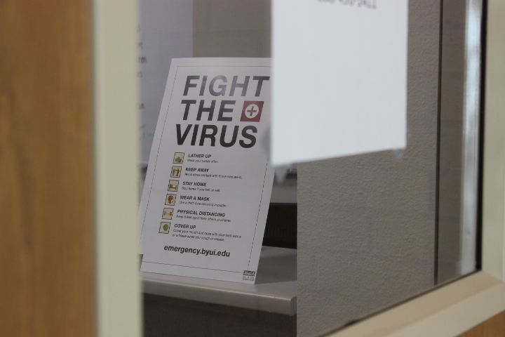"""Photo courtesy of Kimberly Hunt, photo of a sign reading, """"fight the virus"""""""