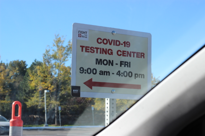 Photo courtesy of Kimberly Hunt, a photo of a sign indicating when BYU-Idaho's testing center is open