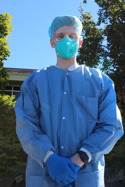 Photo courtesy of Kimberly Hunt, a photo of a BYU-Idaho employee dressed in surgical attire