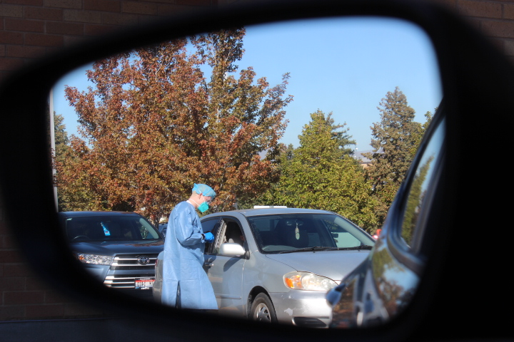 Photo courtesy of Kimberly Hunt, photo of a BYU-Idaho employee dressed in surgical gear