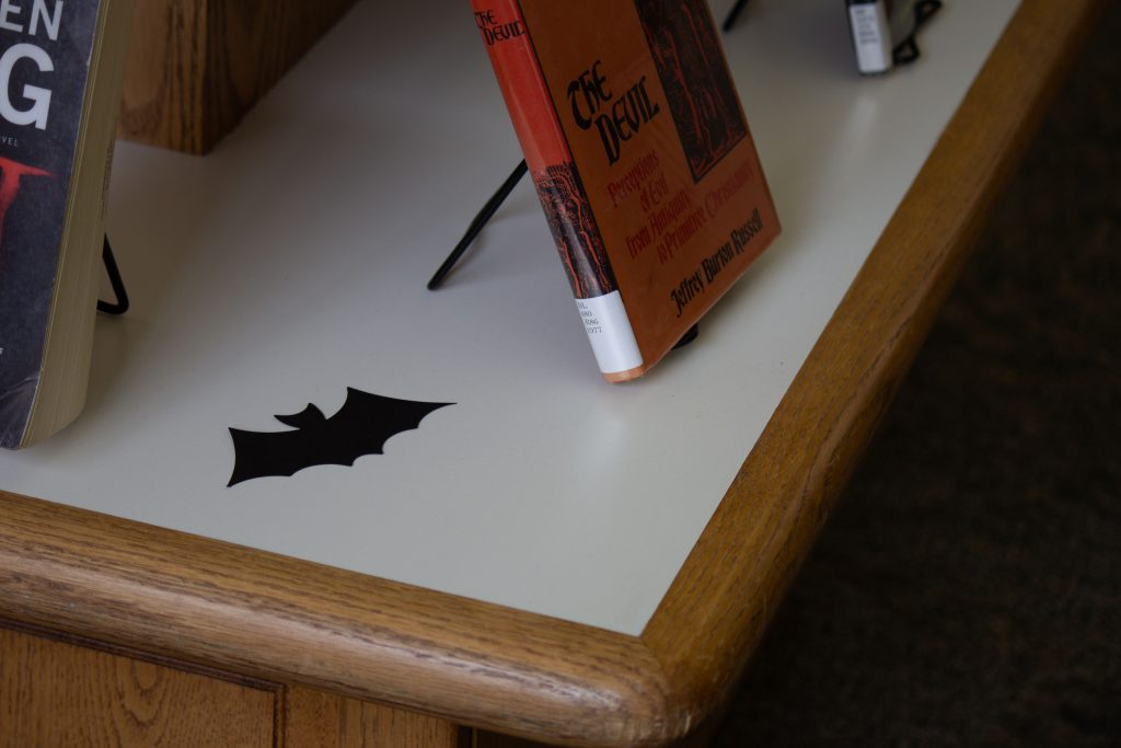 A bat decoration in the McKay Library
