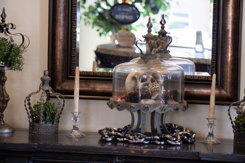 Spooky decorations in the Windsor Manor lobby.