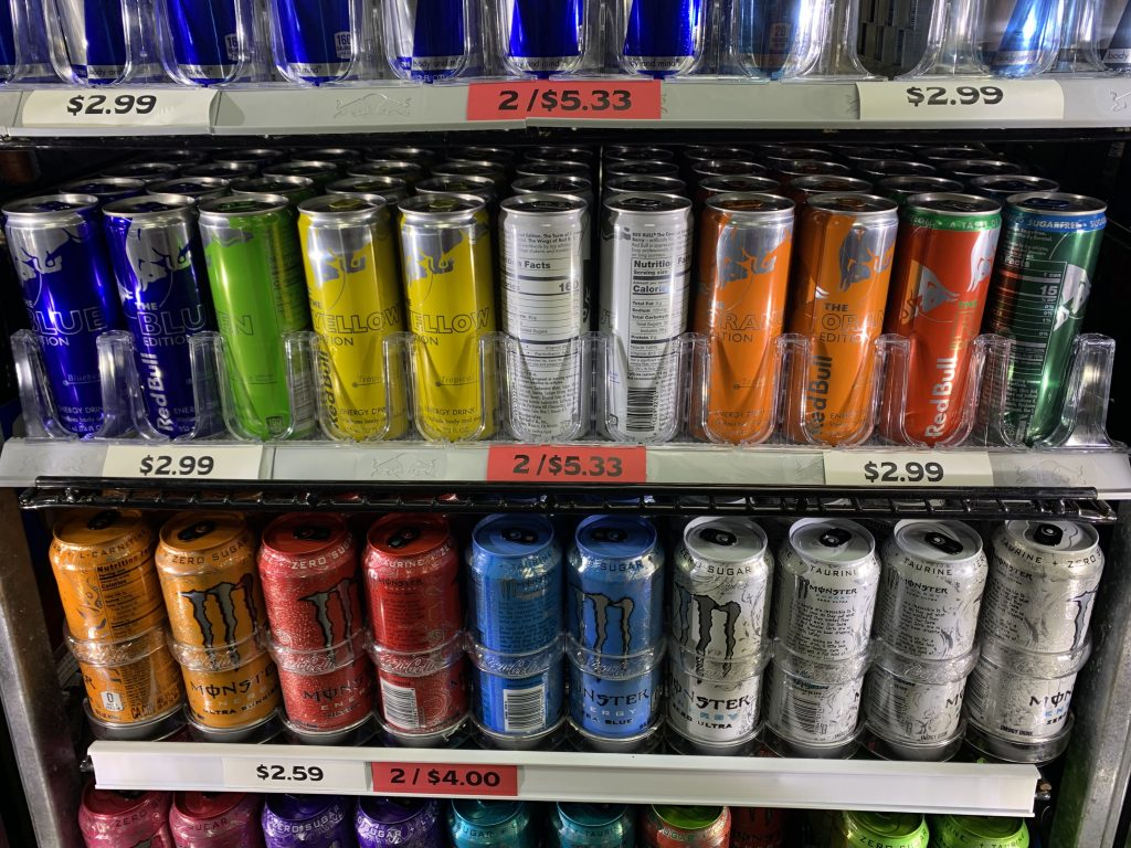 an assortment of energy drinks