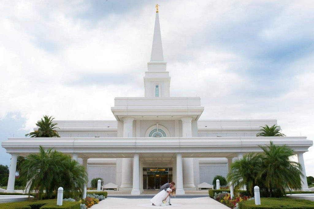 A young couple after their sealing outside the Orlando Temple