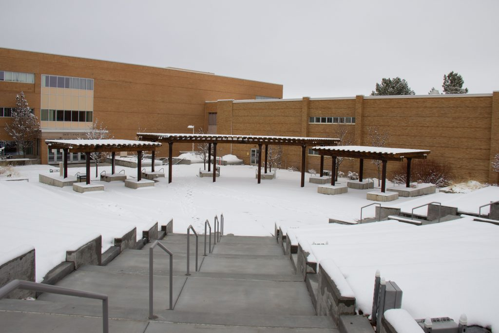 Snow in the amphitheatre on campus.