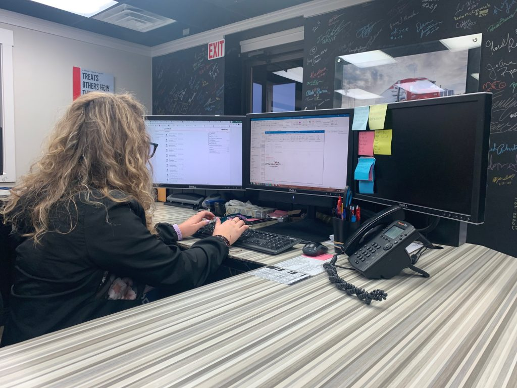 Emily Bidstrup wraps up her day by emailing her boss