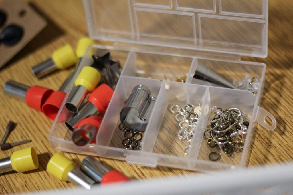 Materials that Hunt uses to create earrings.