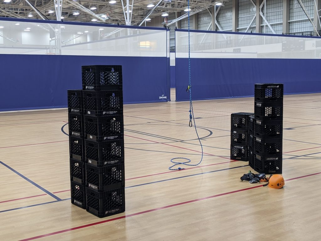 Crate stacking requires participants to use proper safety equipment.