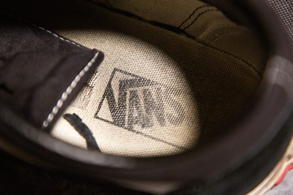 Logo on the inside of the shoe.