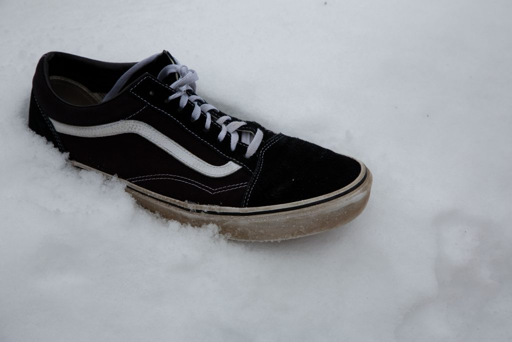 A shoe in the Rexburg snow.