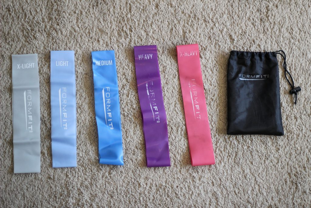 The resistance bands that Bowman uses during her at home workouts.